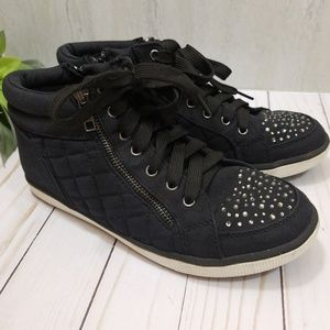 KID'S Justice Quilted Rhinestone High Top Sneakers